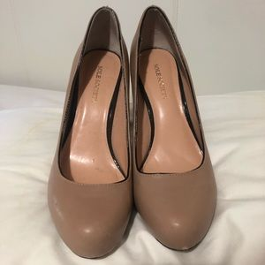 Sole Society Nude Pump with Brown Heel!